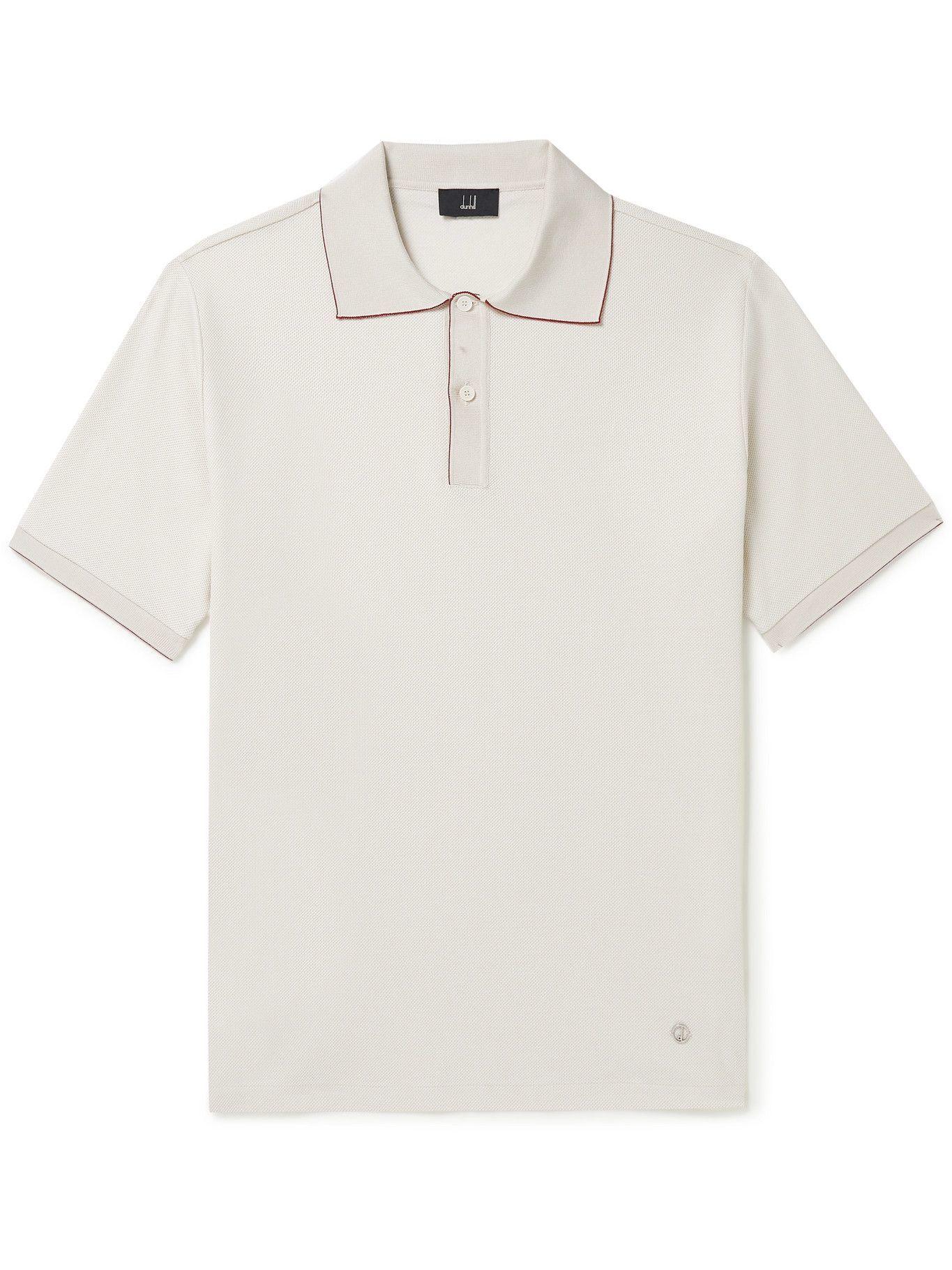DUNHILL - Cotton-Piqué Polo Shirt - Neutrals