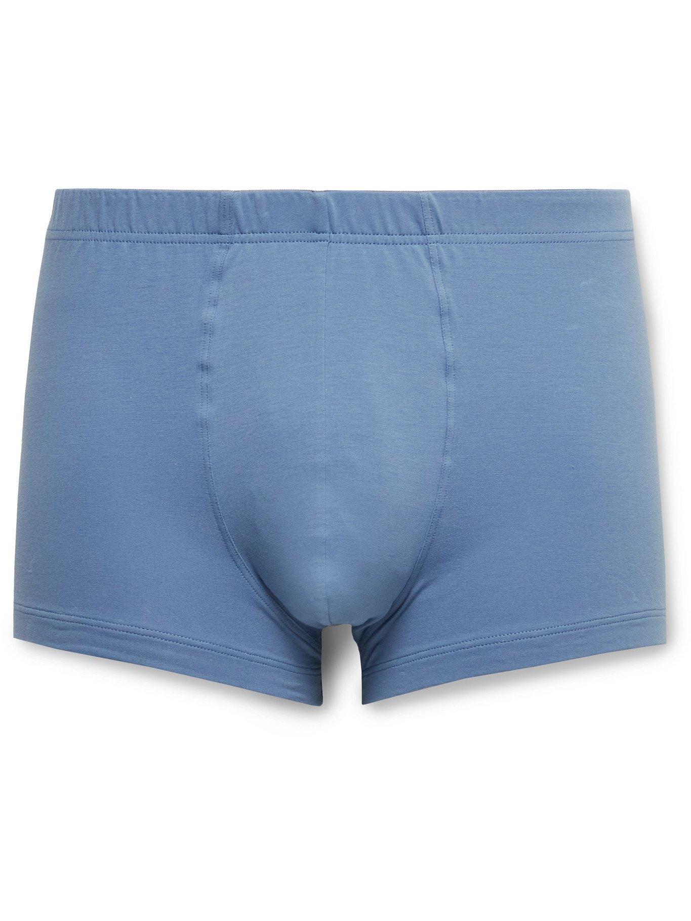 Hanro - Superior Stretch-Cotton Boxer Briefs - Blue - S
