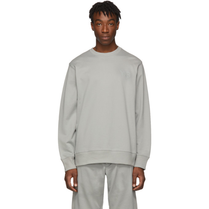 Photo: Y-3 Grey Logo Crewneck Sweater