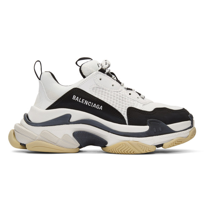 Photo: Balenciaga Black and White Triple S Sneakers