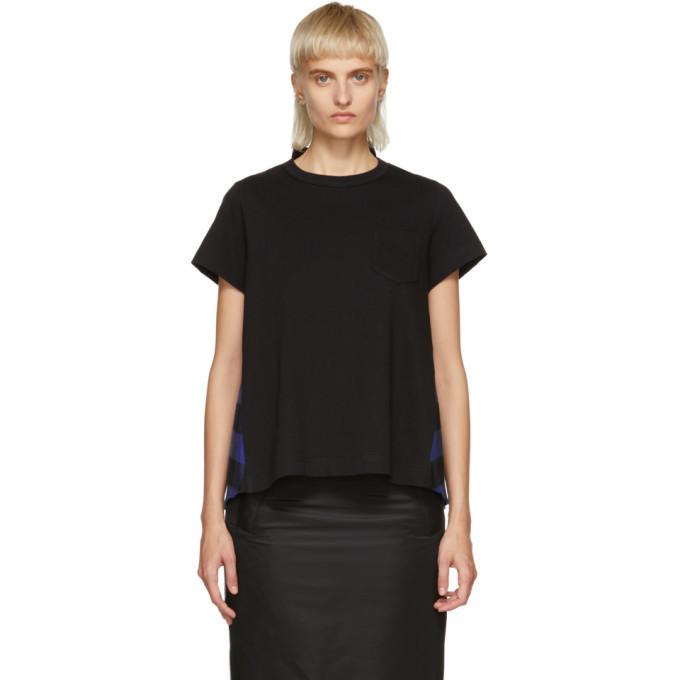 Sacai Black and Blue Buffalo Check T-Shirt