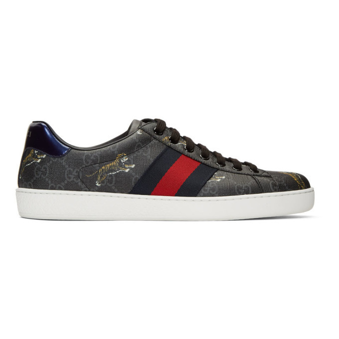 Grey Supreme Ace GG Tiger Sneakers Gucci
