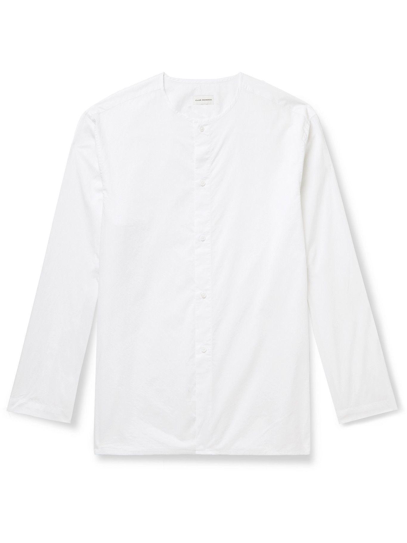 Photo: Club Monaco - Collarless Cotton-Poplin Shirt - White