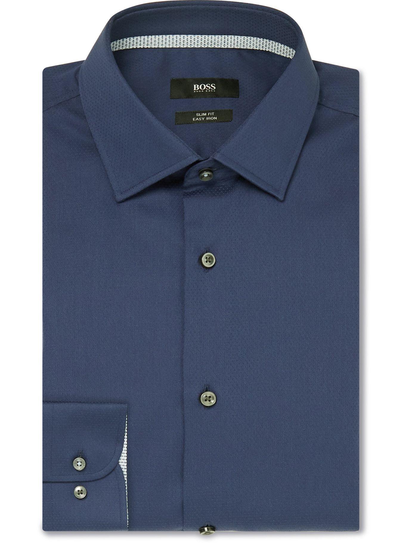 HUGO BOSS - Jesse Slim-Fit Cotton Shirt - Blue