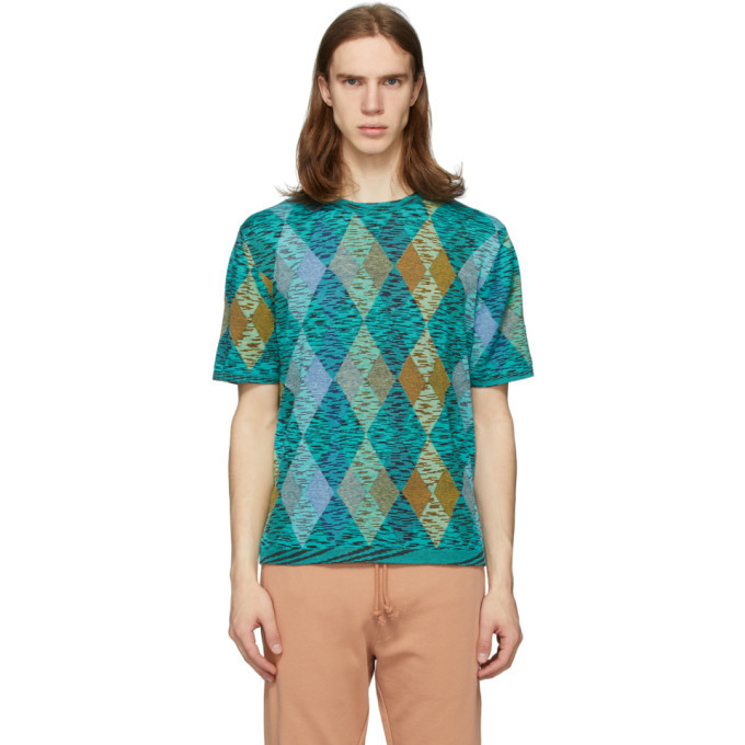 Photo: Missoni Blue and Multicolor Argyle T-Shirt