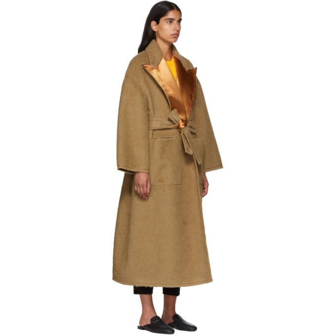 Bottega Veneta Beige Camel Hair Oversized Coat