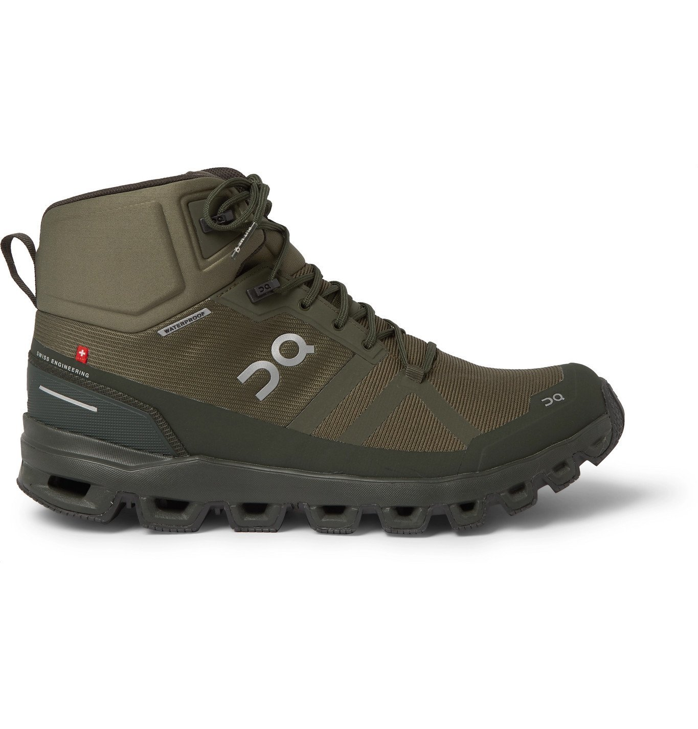 Photo: On - Cloudrock Waterproof Rubber-Trimmed Mesh Boots - Green