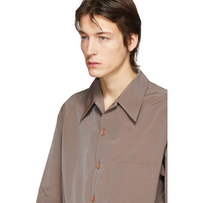 Lemaire Taupe Convertible Collar Short Sleeve Shirt