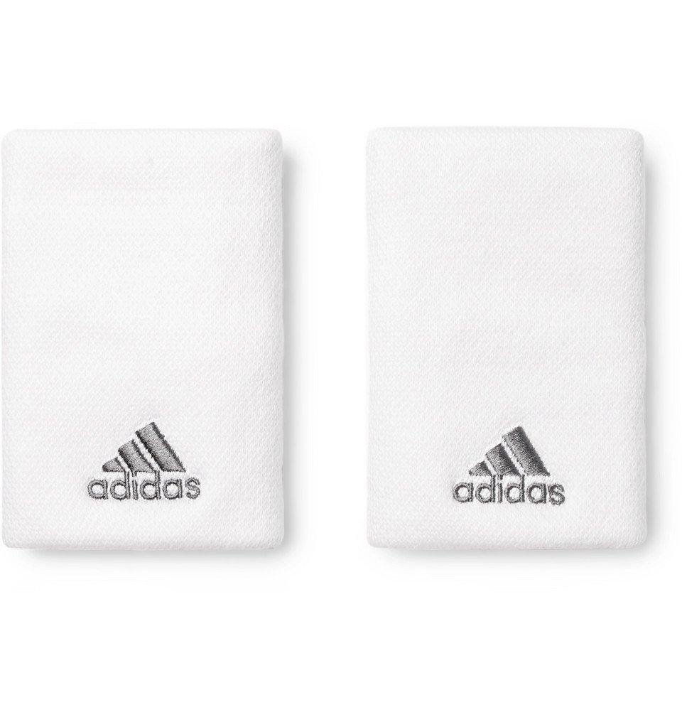 Adidas Sport - Stretch-Piqué Tennis Wristbands - White