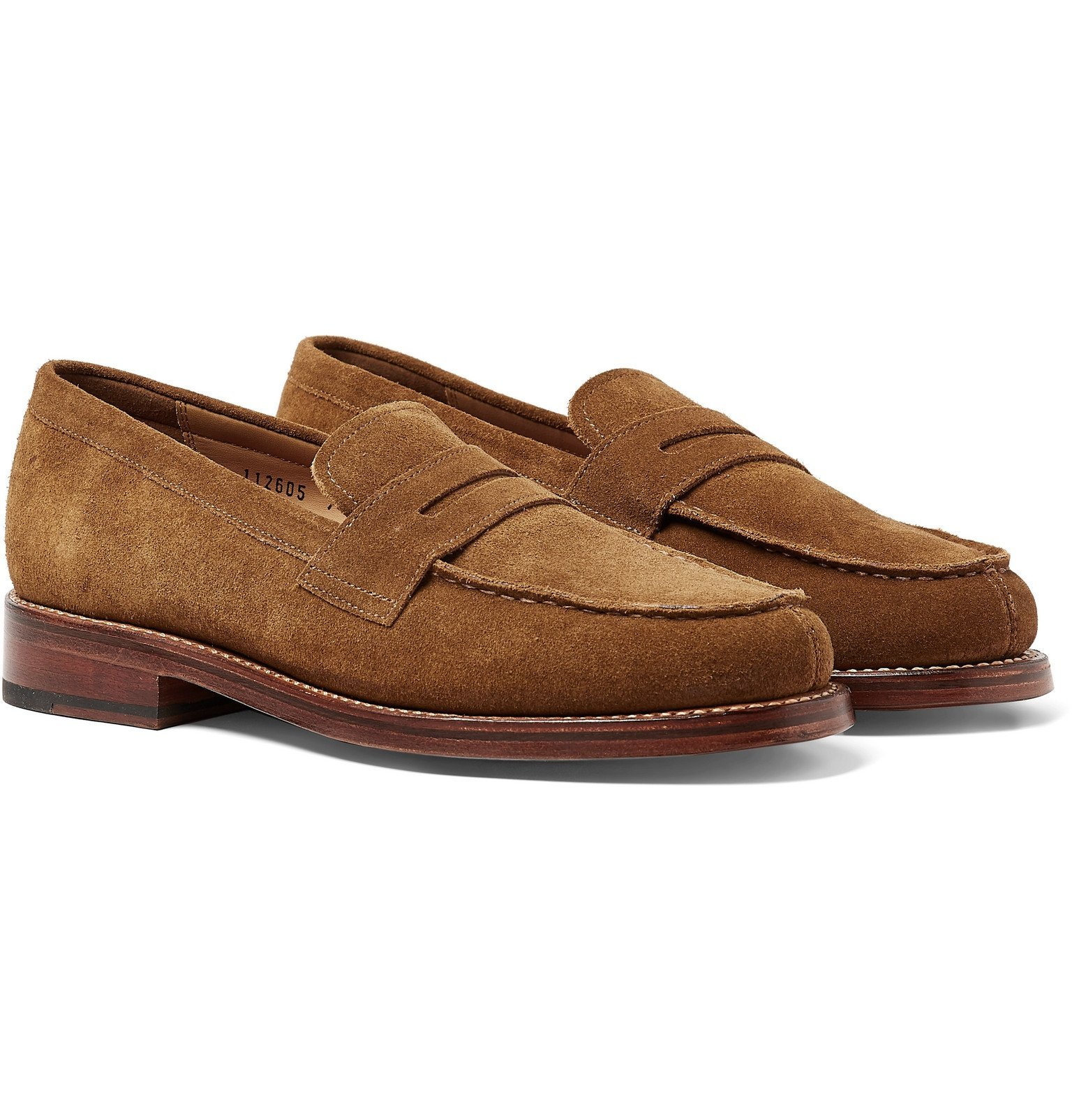 Photo: Grenson - Peter Brushed-Suede Penny Loafers - Brown