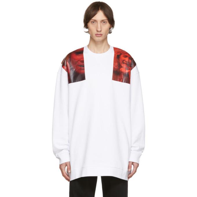 Photo: Raf Simons White Oversized Patches Sweatshirt