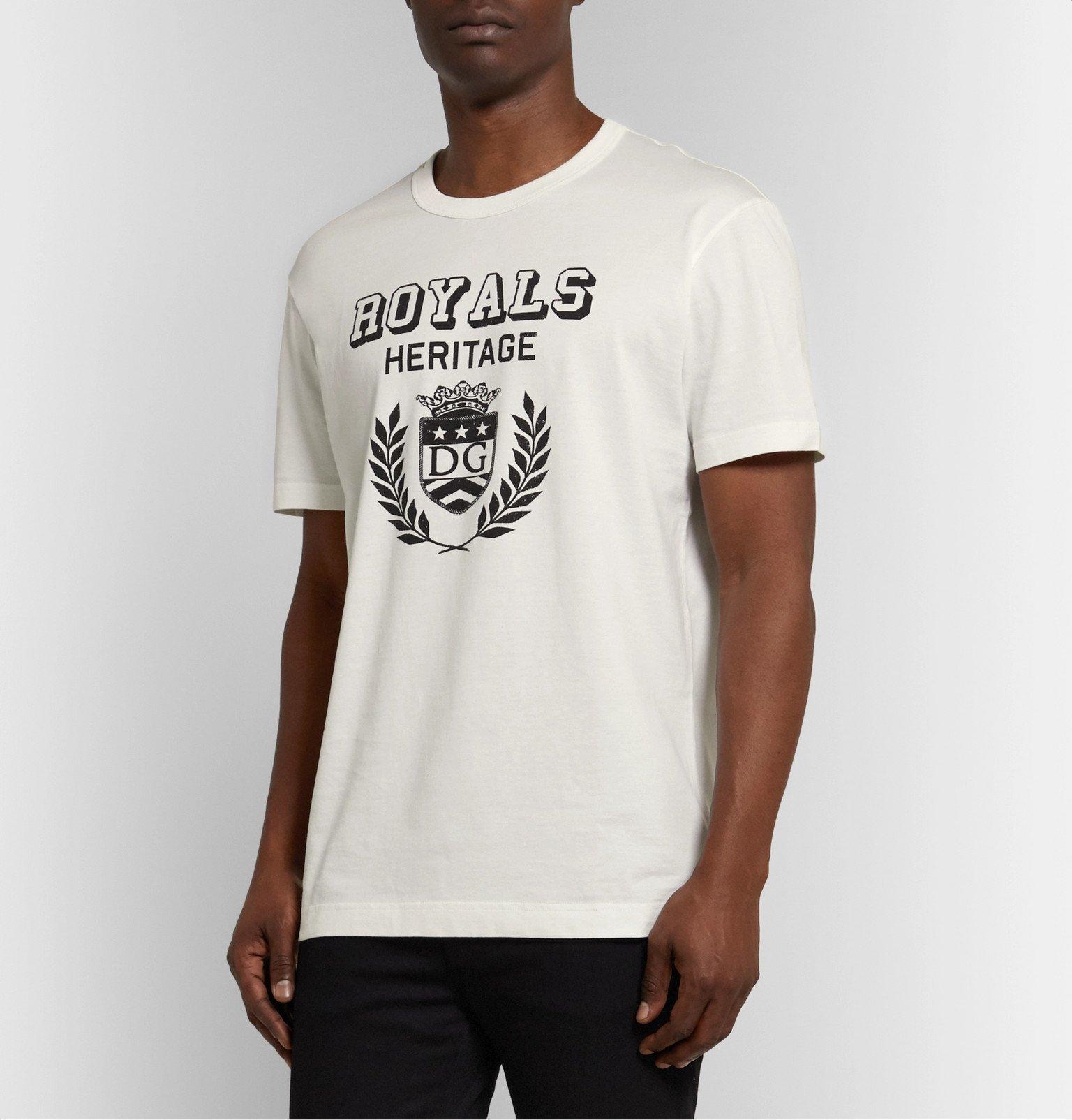 Dolce & Gabbana - Logo-Print Cotton-Jersey T-Shirt - White