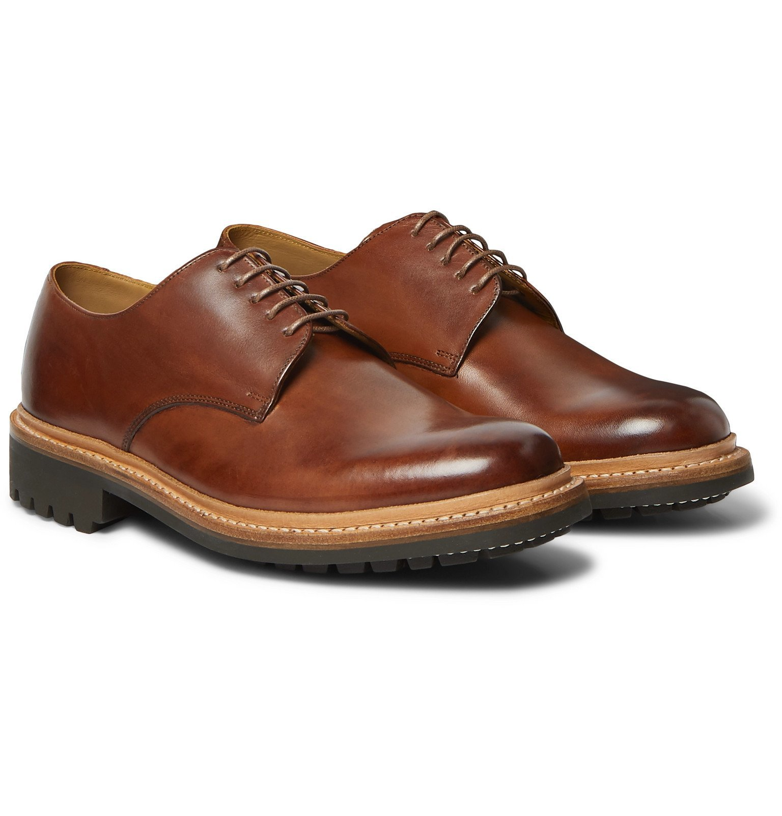 Photo: Grenson - Curt Hand-Painted Leather Derby Shoes - Brown