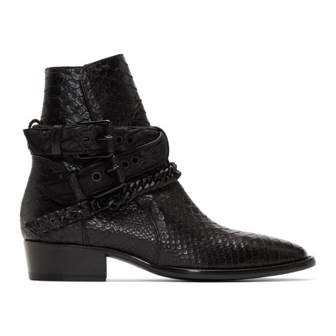 Photo: Amiri Black Buckle Chain Boots