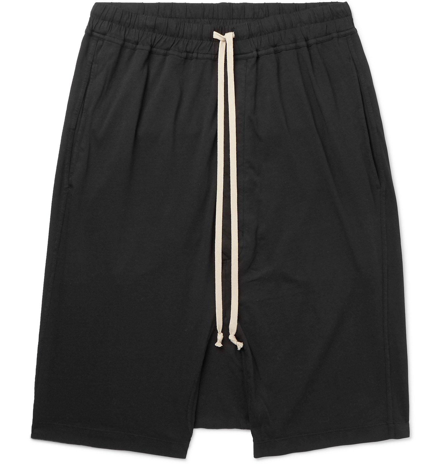 Photo: Rick Owens - DRKSHDW Basket Cotton-Jersey Drawstring Shorts - Black