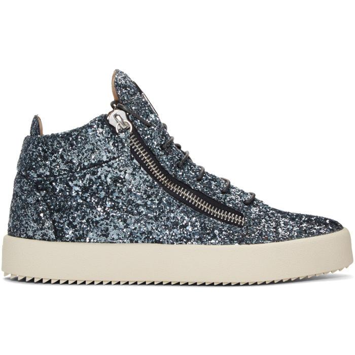 Photo: Giuseppe Zanotti Blue Glitter London High-Top Sneakers