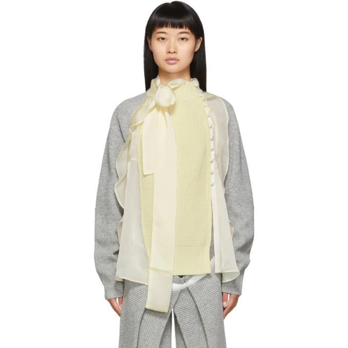 Sacai Grey and Off-White Wool Jersey Cardigan