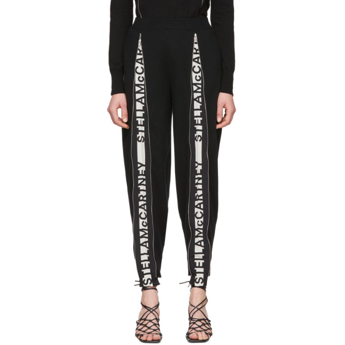 Stella McCartney Black Wool Zip Logo Lounge Pants