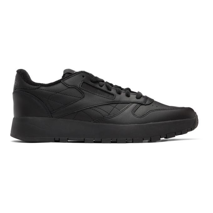 Photo: Maison Margiela Black Reebok Edition Classic Leather Tabi Sneakers
