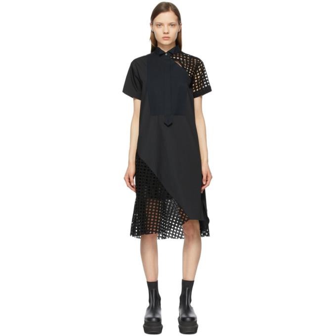 Sacai Black Poplin Embroidered Dress