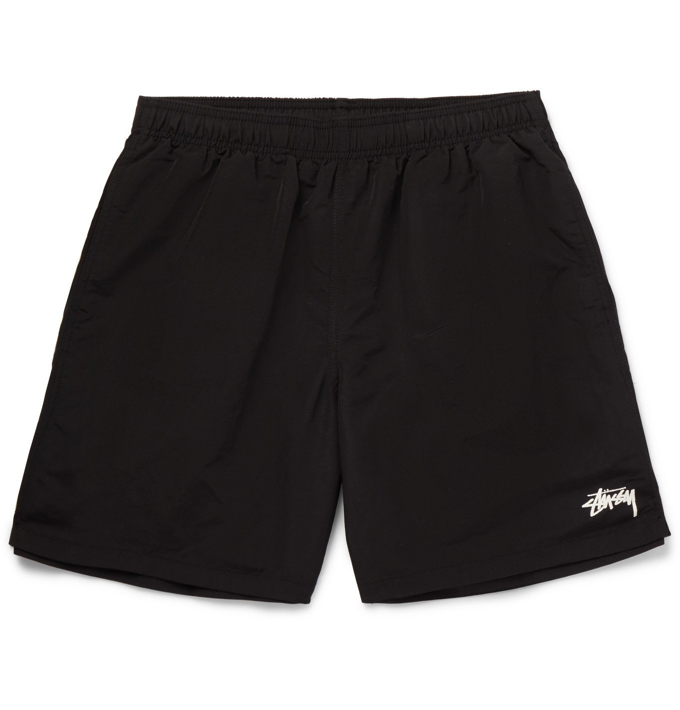 Photo: Stüssy - Wide-Leg Mid-Length Logo-Print Swim Shorts - Black