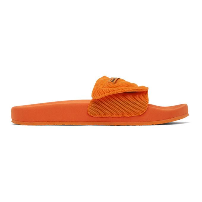Photo: Heron Preston Orange Mesh Slider Pool Slides