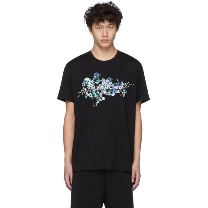 Photo: Givenchy Black Logo Flowers T-Shirt