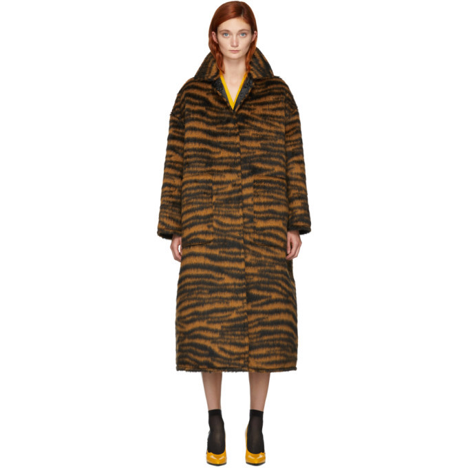 Photo: Bottega Veneta Orange Hairy Zebra Coat