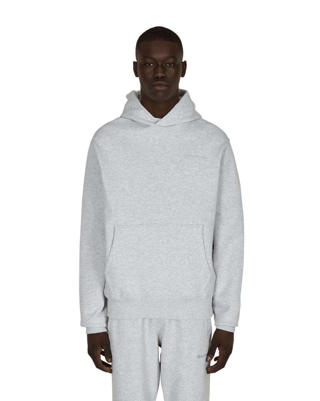 Photo: Adidas Originals Pharrell Williams Basics Hooded Sweatshirt Light Grey Heather