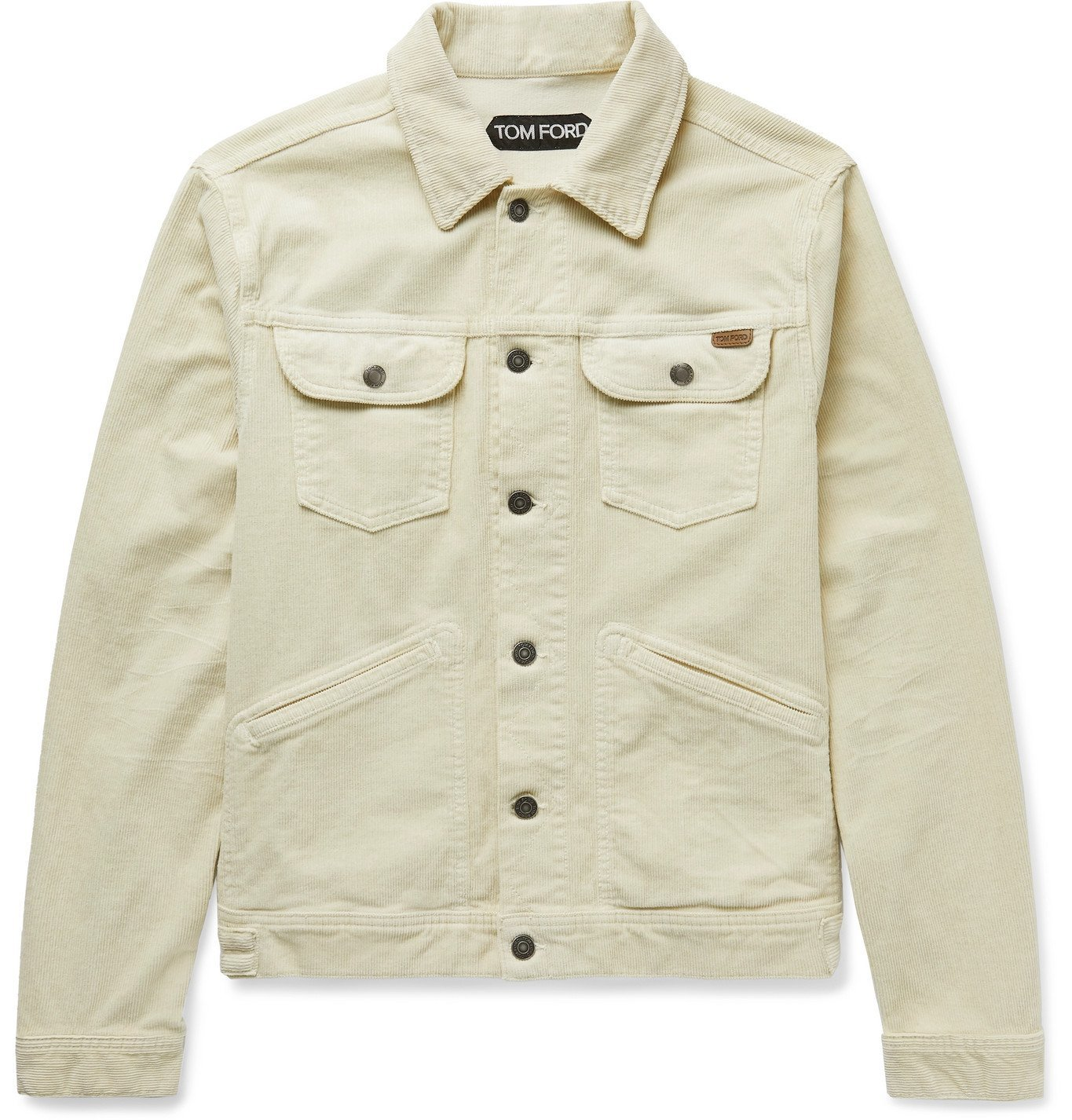 Photo: TOM FORD - Cotton-Blend Corduroy Trucker Jacket - Neutrals