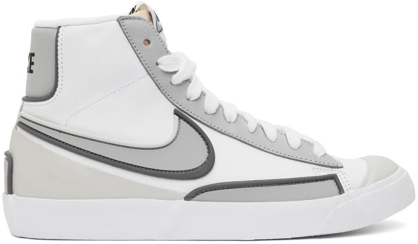 Photo: Nike White & Grey Nike Blazer Mid '77 Infinite Sneakers