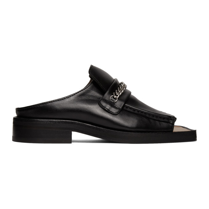 Photo: Martine Rose Black Open Toe Loafers