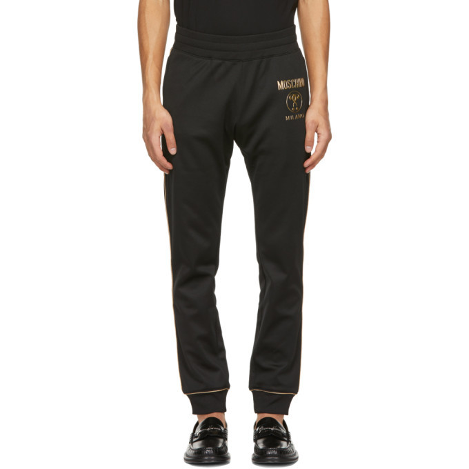 Photo: Moschino Black and Gold Double Question Mark Lounge Pants