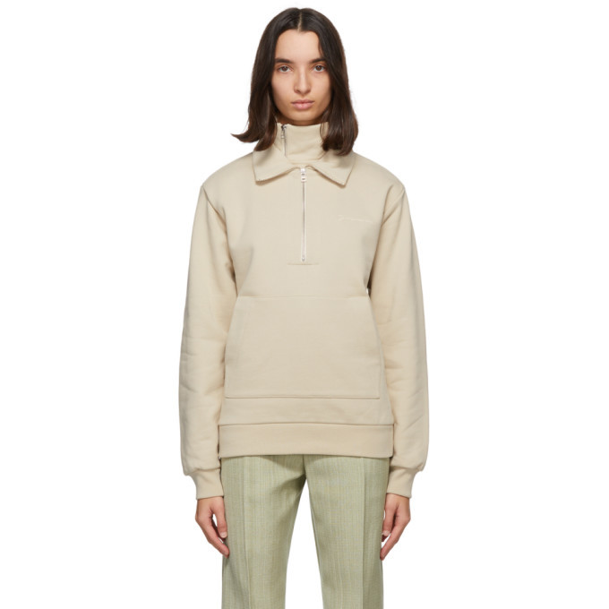 Photo: Jacquemus Beige Fleece Le Double Sweat Zip Hoodie