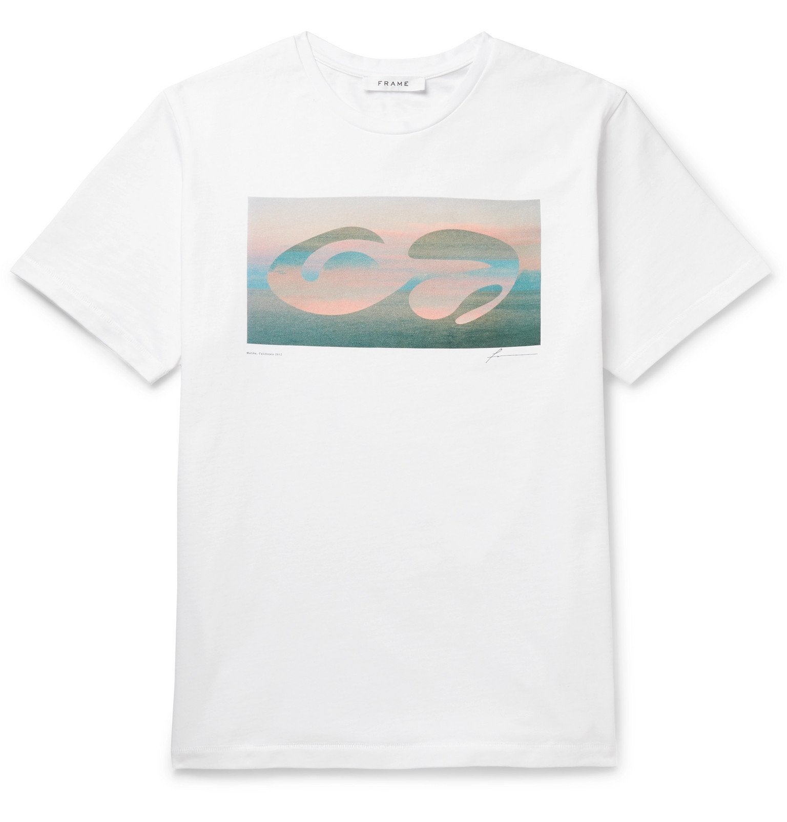 Photo: FRAME - Printed Cotton-Jersey T-Shirt - White