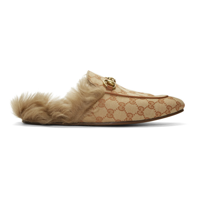 Photo: Gucci Beige and Brown Canvas GG Princetown Loafers
