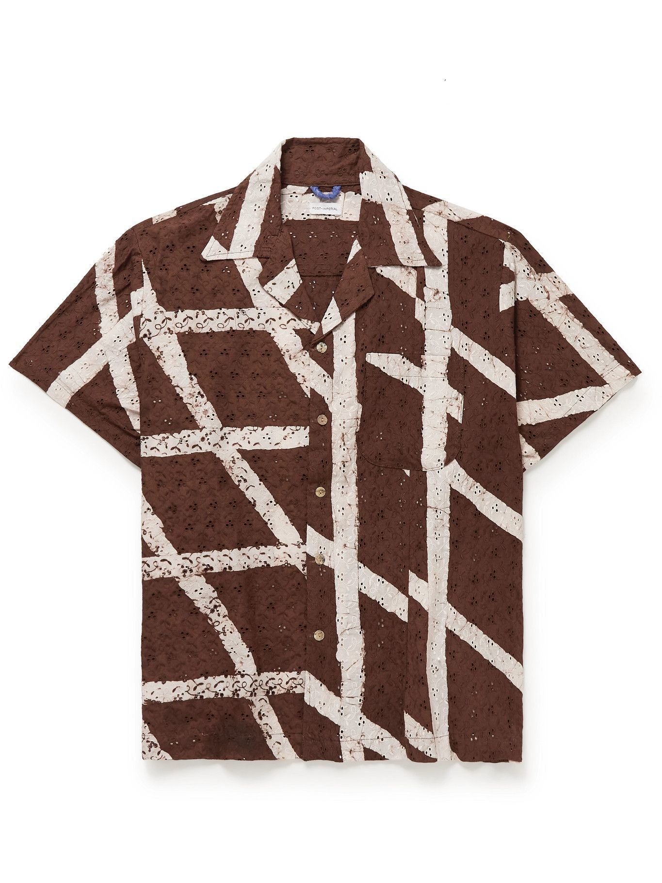 Photo: Post-Imperial - Ijebu Camp-Collar Checked Broderie Anglaise Cotton Shirt - Brown