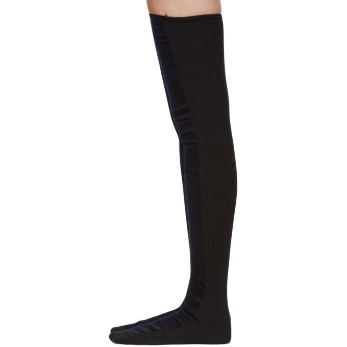 4584d002b3090 Sacai SSENSE Exclusive Navy Velvet Thigh-High Socks Sacai
