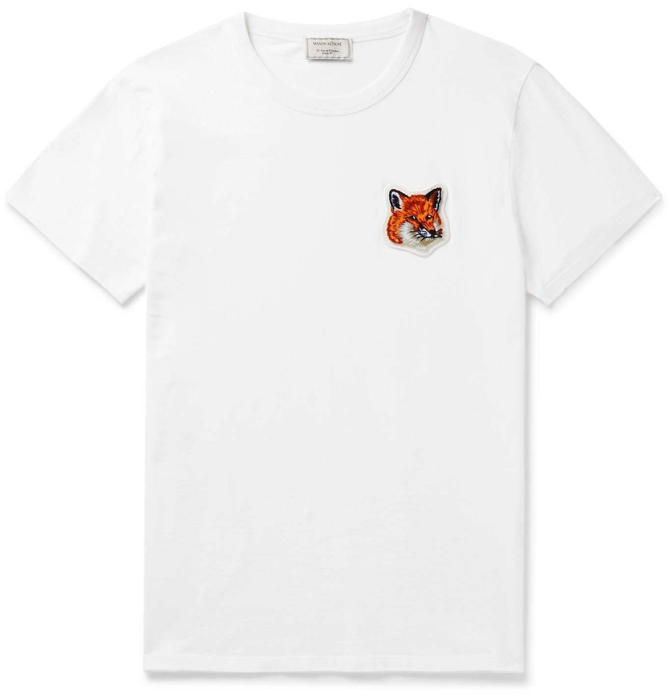 Photo: Maison Kitsuné - Logo-Appliquéd Cotton-Jersey T-Shirt - White