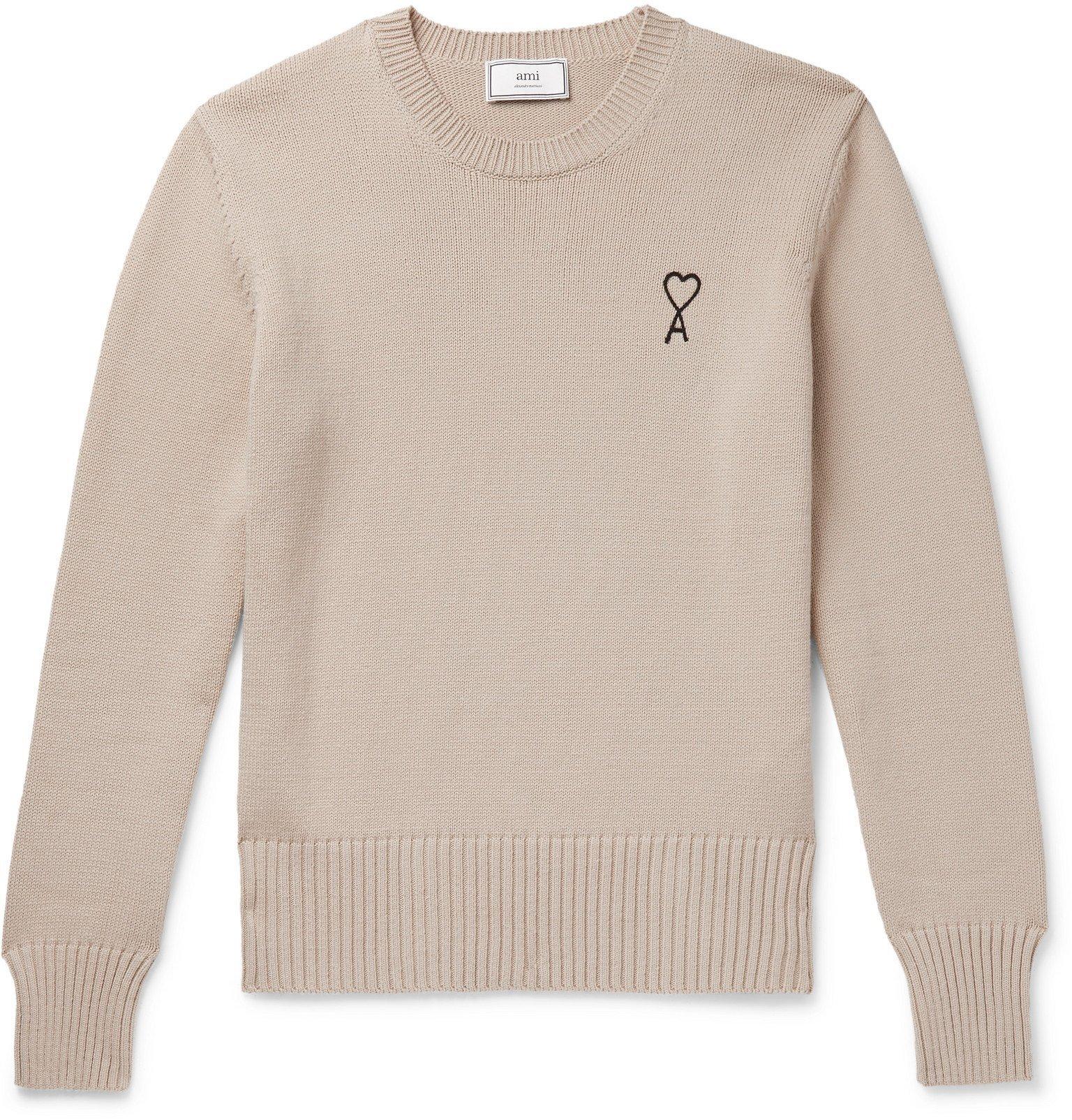Photo: AMI - Logo-Embroidered Cotton-Blend Sweater - Neutrals