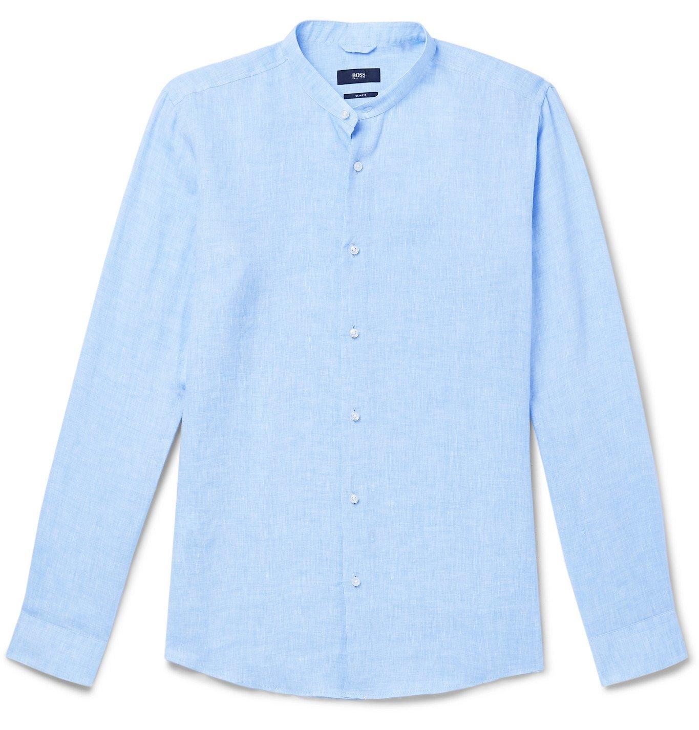 Photo: Hugo Boss - Jordi Grandad-Collar Linen Shirt - Blue