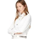 Stella McCartney White Denim Cropped Logo Band Jacket