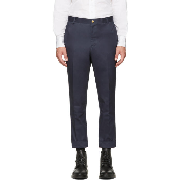 Photo: Thom Browne Navy Unconstructed Chinos