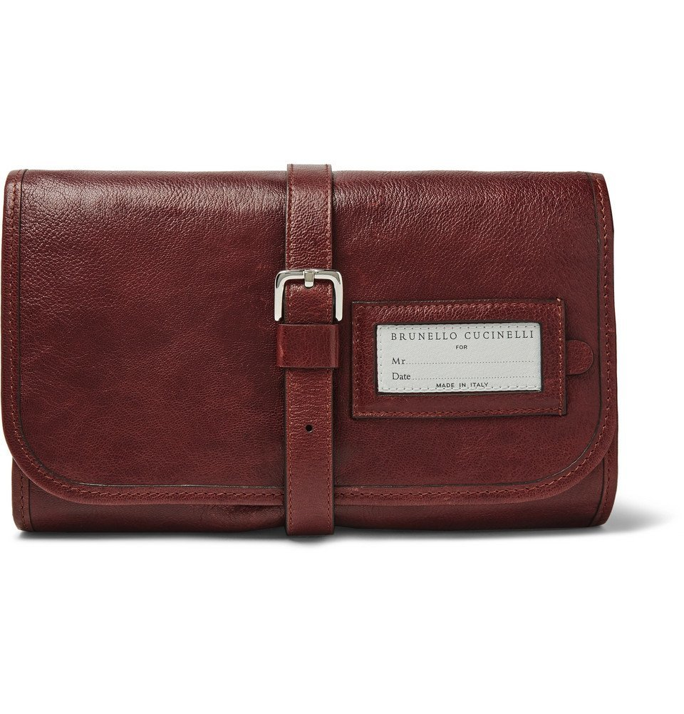 Photo: Brunello Cucinelli - Leather Hanging Wash Bag - Brown