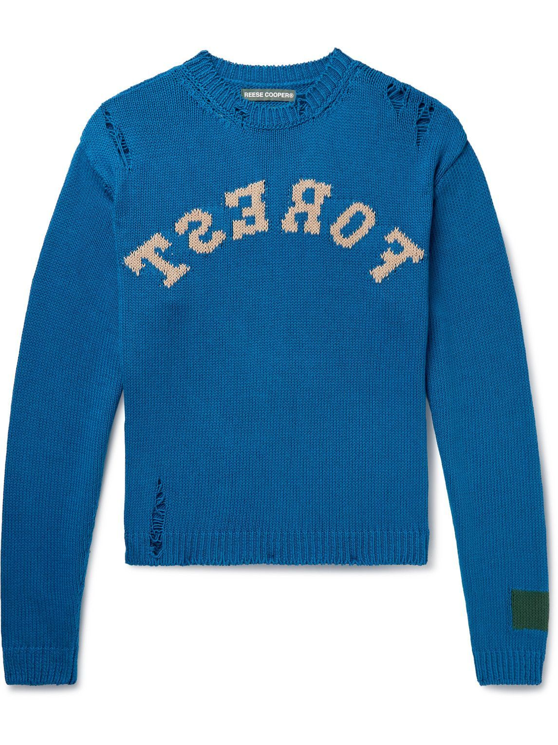 Photo: Reese Cooper® - Distressed Intarsia Cotton Sweater - Blue