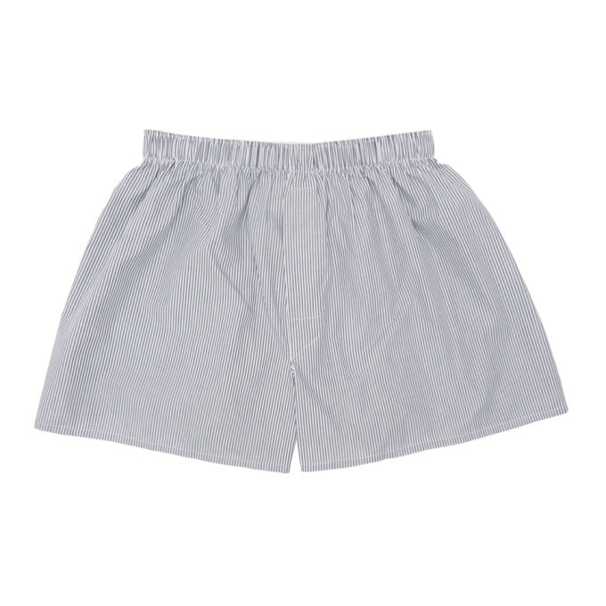 Sunspel Navy and White Striped Classic Boxers