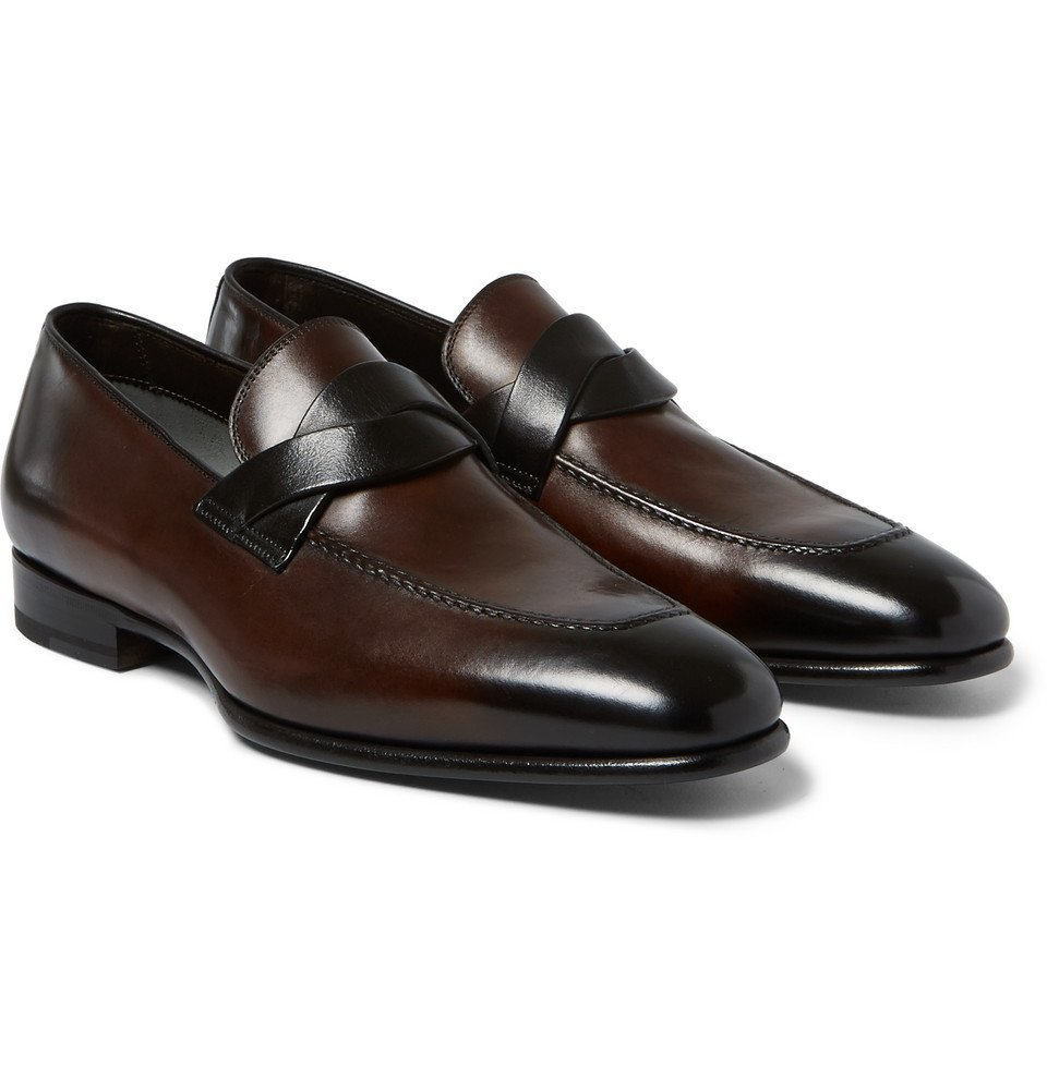 Photo: TOM FORD - Burnished-Leather Penny Loafers - Brown