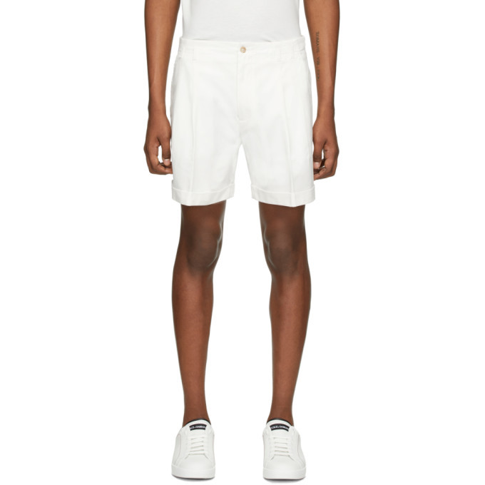 Photo: Dolce and Gabbana White Cuffed Shorts