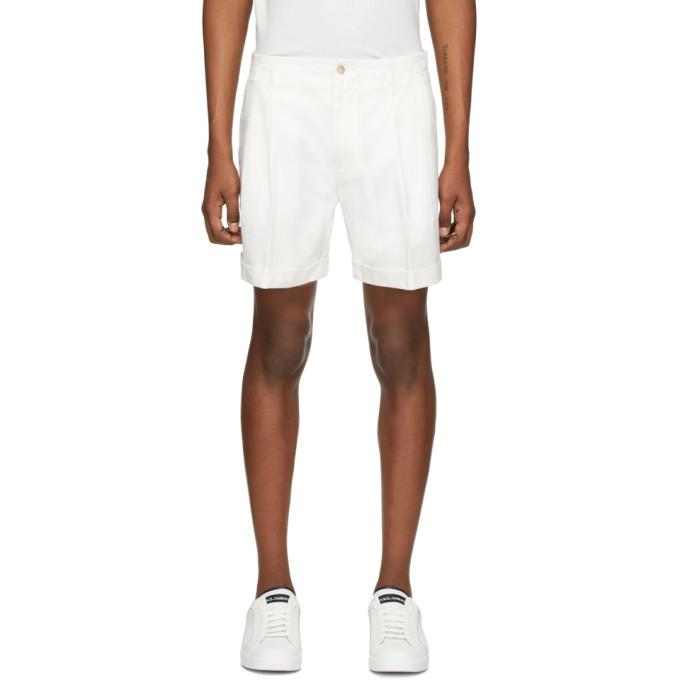 Photo: Dolce and Gabbana White Cuffed Shorts