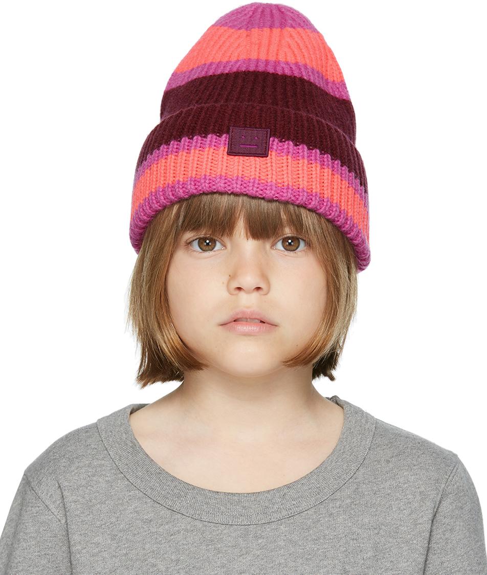 Photo: Acne Studios Kids Pink & Burgundy Wool Patch Beanie